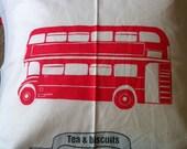 London cushion UK Red Bus, Tea & Biscuits. Royal Wedding souvenir