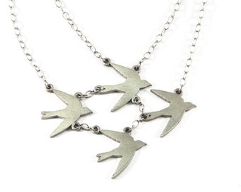 Small Four Bird Necklace