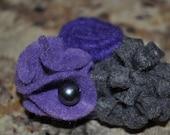 Purple and grey felt flower bunch hair clip