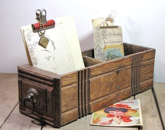 vintage wooden desk drawer with pull