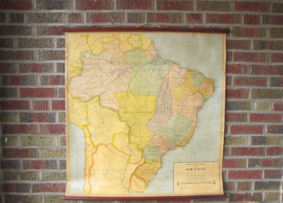 vintage 1950s south american linen map