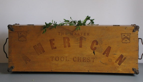 vintage wooden american tool chest