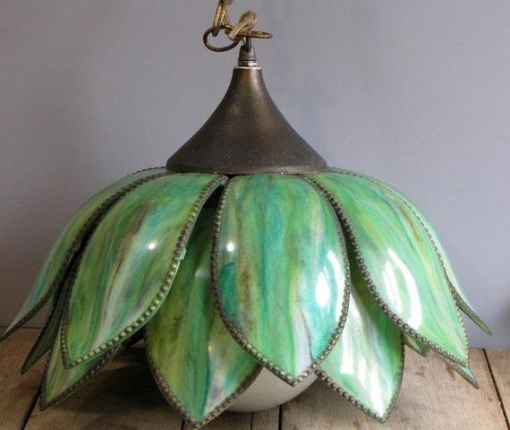 vintage green swag lotus chandelier
