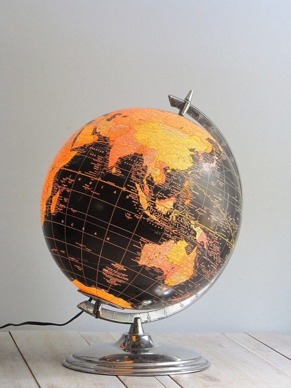 vintage world globe - illuminating