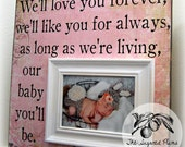 Baby Picture Frame 16x16 WE'LL LOVE You Forever First Birthday Baby Shower Christening Baptism Dedication Brothers Sisters