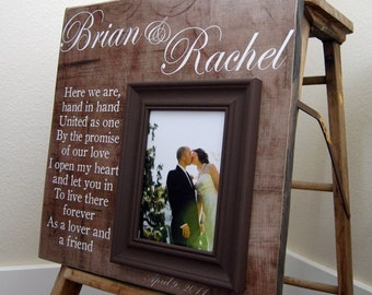 Custom Wedding Picture Frame Personalized 16x16 Here We Are-Wedding Gift Love Anniversary Quote Verse Parents