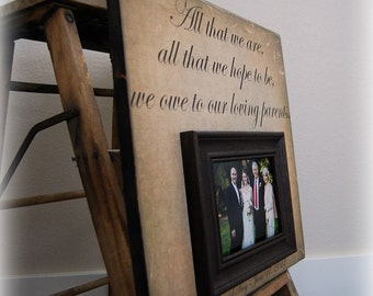 Parents Gift  Personalized Picture Frame Custom 16x16 -All That We Are- Wedding Anniversary Love Father of Mother of Song Vows Thank You