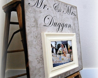 Picture Frame MR AND MRS Wedding Personalized Custom Picture Frame 16x16 Anniversary Father Mother Parents Shower Quote Verse Song Vows Gift