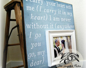 Valentines Day Gift, Anniversary, Anniversary Gift, Wedding Anniversary, 5th Anniversary, Anniversary Frame,16x16 I CARRY YOUR HEART