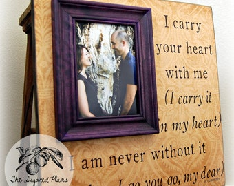 Personalized Picture Frame Wedding 16x16 I CARRY YOUR HEART Anniversary Gift Engagement Wedding Song Quote Verse Vows