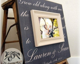 Wedding Sign, Picture Frame, Custom Wedding Gift 16x16 GROW OLD ALONG Anniversary Love Father Mother Parents The Sugared Plums