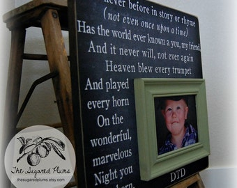 Baby Boy Blue Baby Picture Frames Baby Gift 16x16 ON THE NIGHT You Were Born Christening First Birthday Gift New Baby Winnie the Pooh