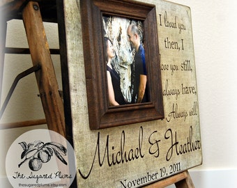 Personalized Wedding Frame, Wedding Picture Frame, Wedding Sign, Wedding Gift, Personalized Frame, 16x16 I Loved You Then