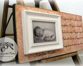 BABY PICTURE FRAME Personalized Custom Picture Frame 8x20 Baby Shower Dedication Baptism Christening First Birthday Gift Godparents