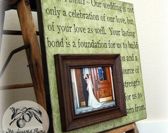 Parent Wedding Gift, Personalized Picture Frame, Wedding Thank You Gift, Custom 16x16 TO OUR PARENTSFather of Mother of Song Vows Thank You