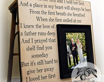Wedding Gift For Parents, Mother of the bride, Thank you, Father or the Bride, Mom and Dad, Wedding Frame 16x16 I LOVED HER FIRST