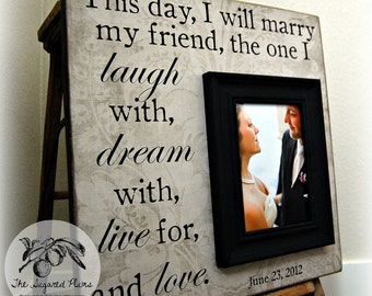 Personalized Wedding Gift, Unique Wedding Gift, Personalized Picture Frame, Gifts for Bride, Parents of the Bride, Bridal Party Gifts 16x16
