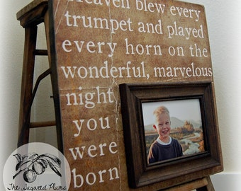 First Birthday Gift Personalized Picture Frame 16x16 HEAVEN BLEW EVERY Horn-The Night Your Were Born Christening Gift Godparents New Baby