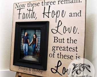 Bridal Shower, Picture Frame Personalized Wedding Gift 16x16 FAITH HOPE LOVE Anniversary Love Father Mother Parents Quote Song Vows