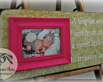 Baby Picture Frame, Baby Frame, Personalized Baby Frame, Baby Wall Decor, Baptism, Christening, First Birthday, 8x20 A Tiny Bit Of Heaven