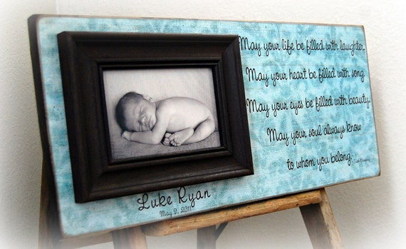 Personalized Baby Picture Frame 8x20 MAY YOUR LIFE Baby Shower Dedication Baptism Christening First Birthday Gift Godparents Custom