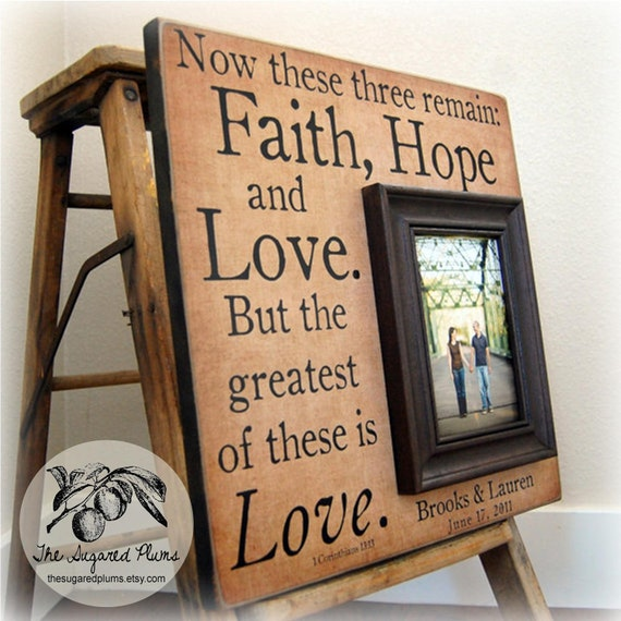 Personalized Custom Picture Frame Gift 16x16 FAITH HOPE LOVE ParentMemorial Wedding Father of the Bride Song Quote Poem Thank You