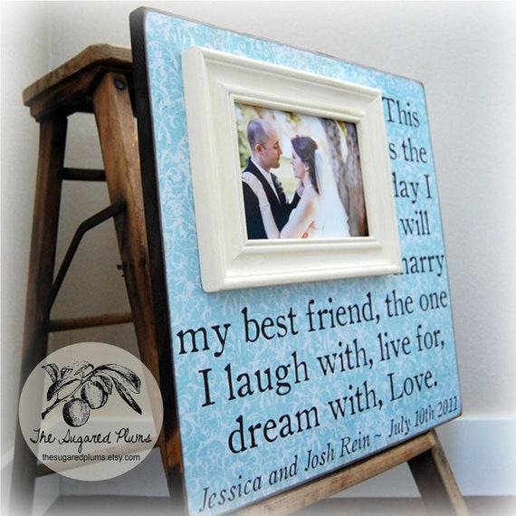 WEDDING FRAME Personalized Picture Frames 16x16 Anniversary Love Father Mother Parents Shower Quote Verse Song Vows