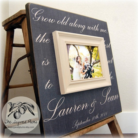 wedding sign picture frame custom wedding gift 16x16 grow old along