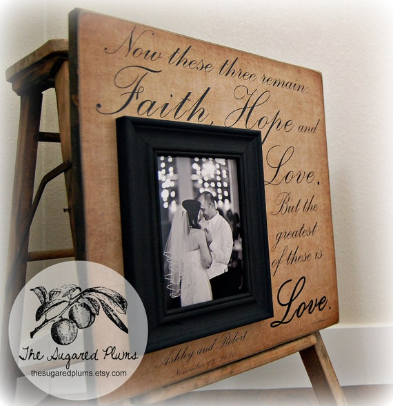 Valentines Day, Valentines Day Gift, Valentines Day Decor, Love, Valentine, Personalized Picture Frame 16x16, Faith Hope and Love