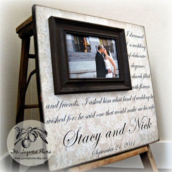 Personalized Wedding Gift, I DREAMED OF A WEDDING  Wedding Love Anniversary Gift, 16x16 The Sugared Plums Frames