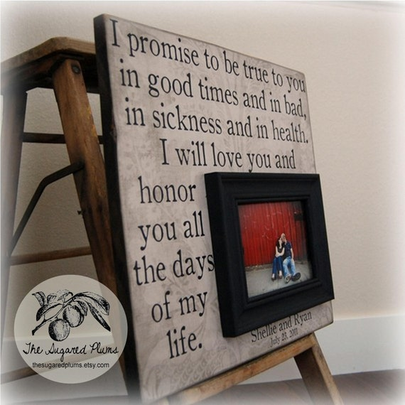 VALENTINES DAY Picture Frame Personalized Custom 16x16- I Promise- Wedding Anniversary Love Quote Verse Song Vows Gift