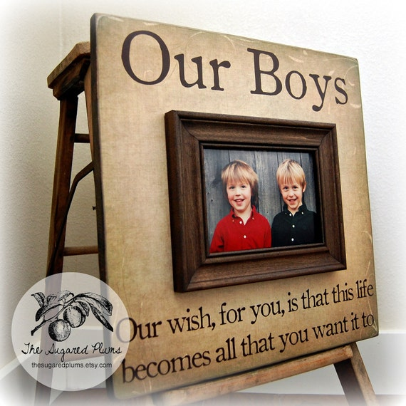 fathers day our boys personalized picture frame 16x16 first birtday brothers grandparents sibling gift