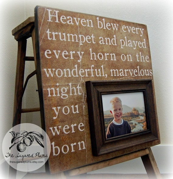 First Birthday Gift Personalized Picture Frame 16x16 HEAVEN
