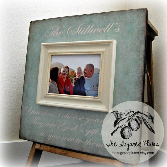 Personalized Family Name Signs, Picture Frame Quote, You Don't Choose Your Family, Custom Wedding Gift, Established, Housewarming, 16x16