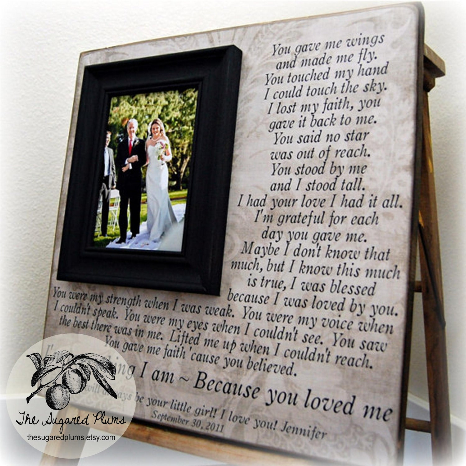 Wedding gifts for parents parent wedding gift personalized picture wedding gifts for parents parent wedding gift personalized picture frame custom 16x16 you gave me wings anniversary father of mother of song junglespirit Image collections