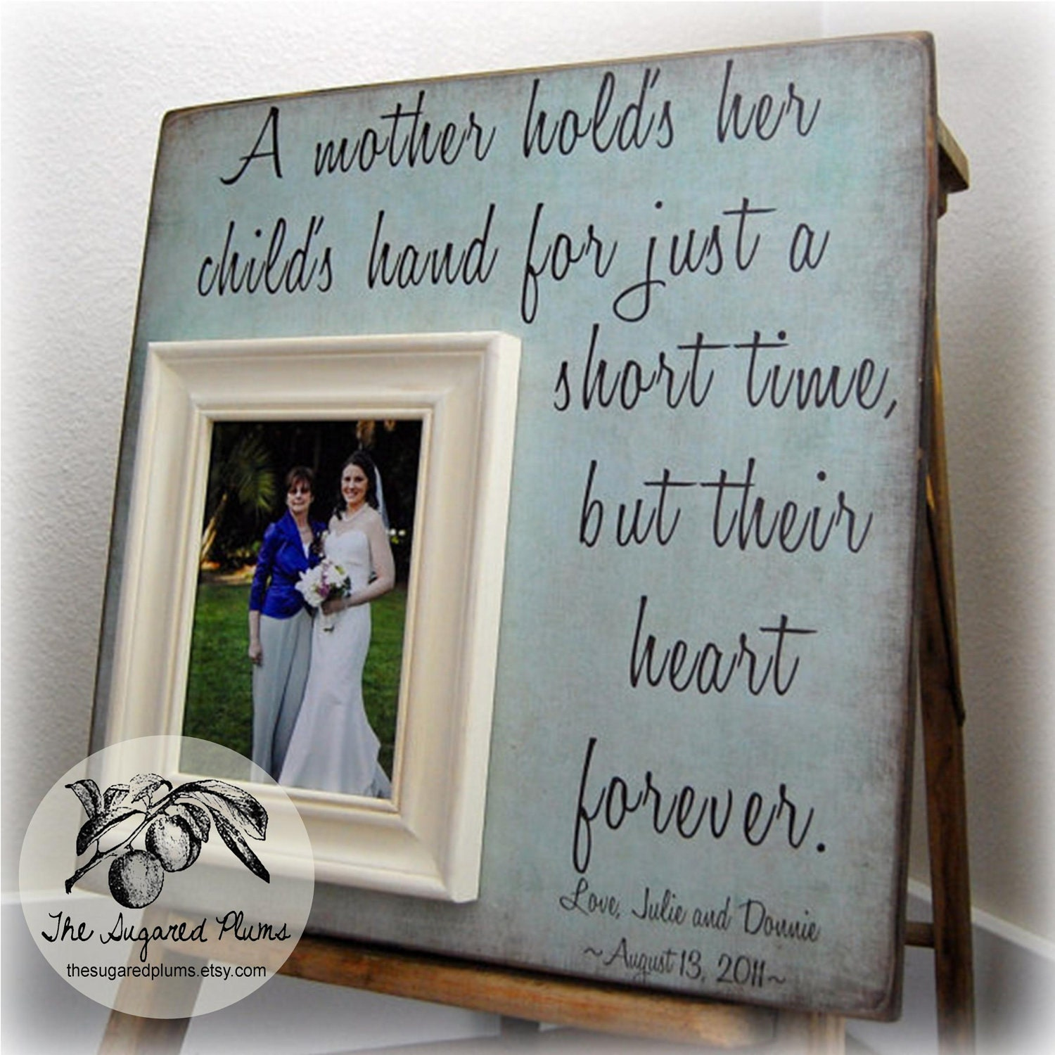 Wedding Present For My Mom : Mother of the Bride Gift Personalized Picture Frame A Mother