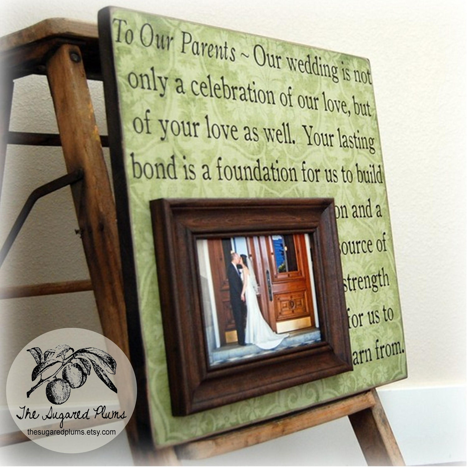 Parent Wedding Gift Personalized Picture Frame by thesugaredplums