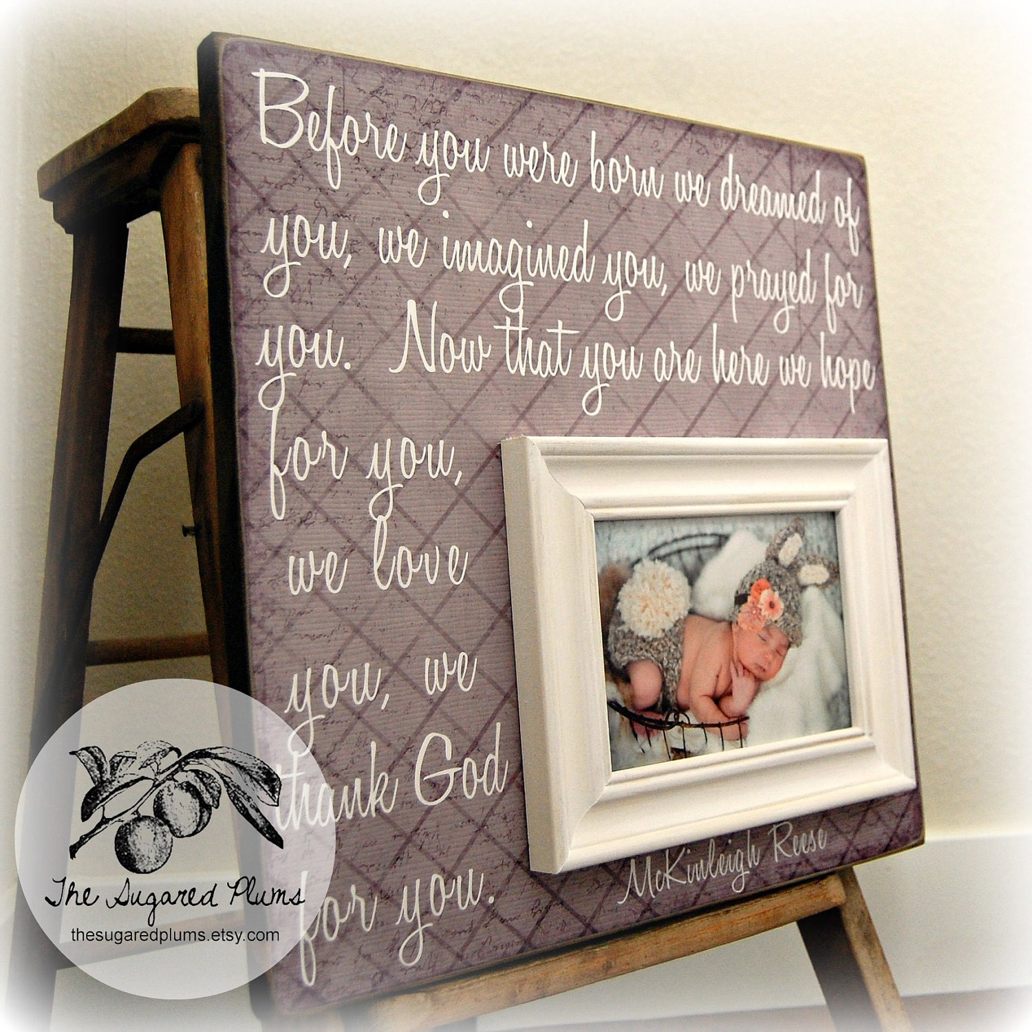 Just Born Baby Gift Ideas : Baby picture frame personalized