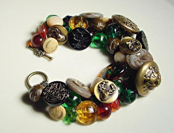 Handmade Button Bracelet with Vintage Wilderness Buttons
