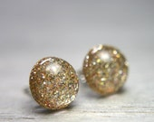 sparkly gold post earrings  - 8mm