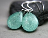 mint green sparkly teardrop earrings on sterling silver