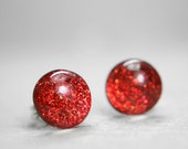 globe sterling post earrings in sparkly red - 8mm