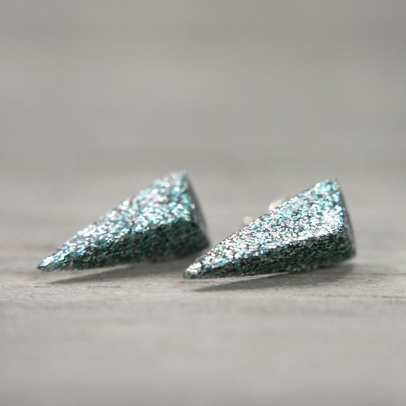 spike post earrings in shimmery ice blue