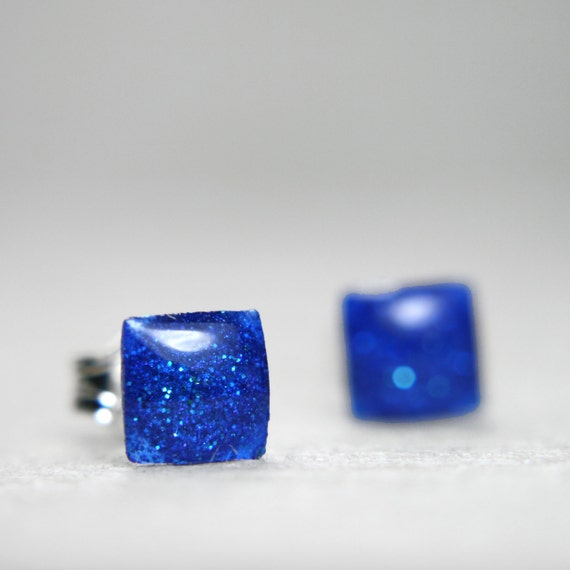 tiny square post earrings in cobalt blue -on sale-