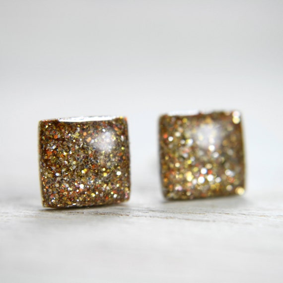 square post earrings in sparkly gold -on sale-