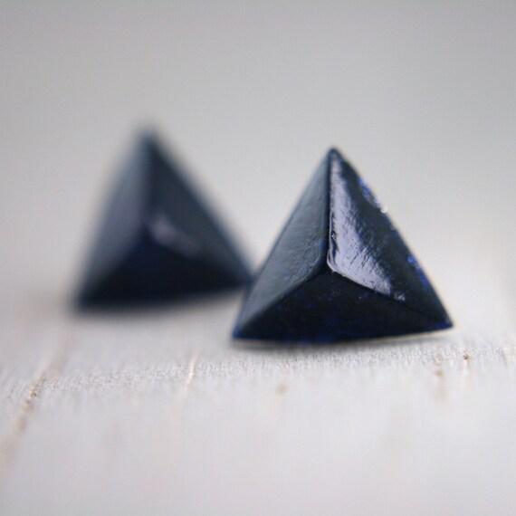 navy shimmery pyramid post earrings geometric studs glitter earrings