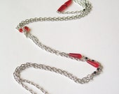 Red and Black Long Lariat - Made to Order
