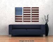 Country Rustic American Flag - Triptych Canvas Giclee