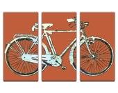 Washington DC Street Map Bicycle Triptych Canvas Giclee - Retro Orange