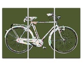 Denver Street Map Bicycle Triptych Canvas Giclee - Olive